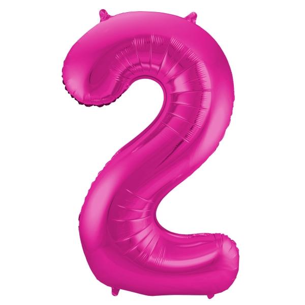 XL Folienballon Zahl 2 in Magenta, 86 cm, 1 Stück, Helium Ballon (unbefüllt)