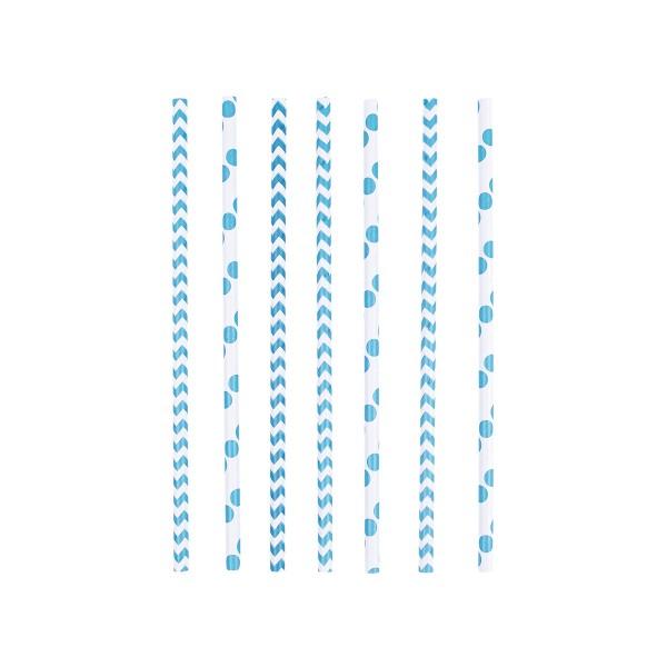 T1142266-Strohhalme-Punkte-und-Chevron-blau-24-Stueck