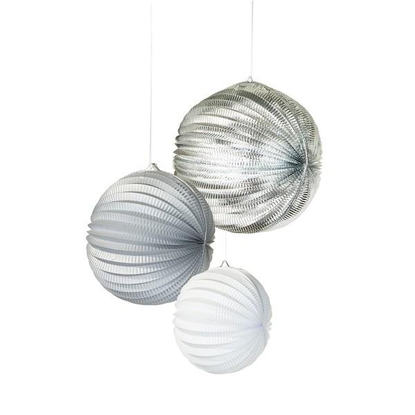 Laternen-Set silber/weiß, 3 Stück