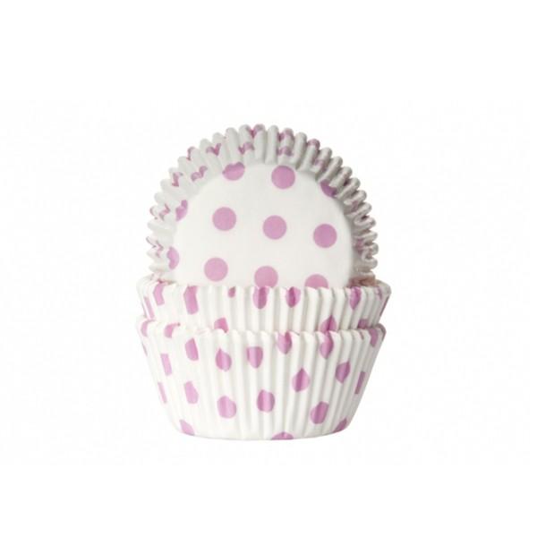 T1142581-Muffinfoermchen-mit-Punkten-weiss-rosa-50-Stueck
