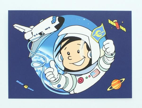 Einladungen mit Umschlägen Astronaut Flo, 8 Stück