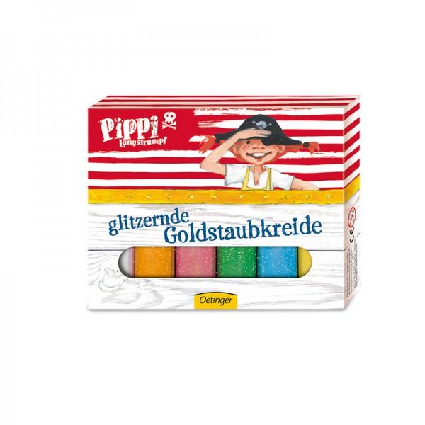 Glitzernde Goldstaubkreide Pippi Langstrumpf, 6 Farben
