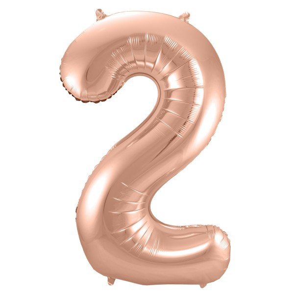 XL Folienballon Zahl 2 in Rose-Gold, 86 cm, 1 Stück, Helium Ballon (unbefüllt)