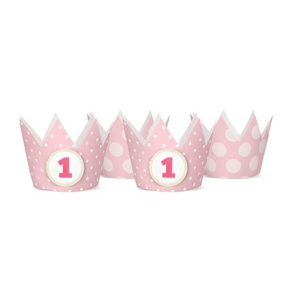 T1142542-Partykronen-1-Geburtstag-rosa-4-Stueck
