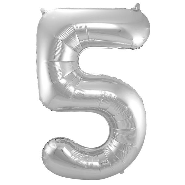XL Folienballon Zahl 5 in Silber, 86 cm, 1 Stück, Helium Ballon (unbefüllt)