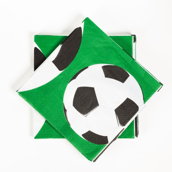 Servietten Fußball, 33x33cm, 16 Stück