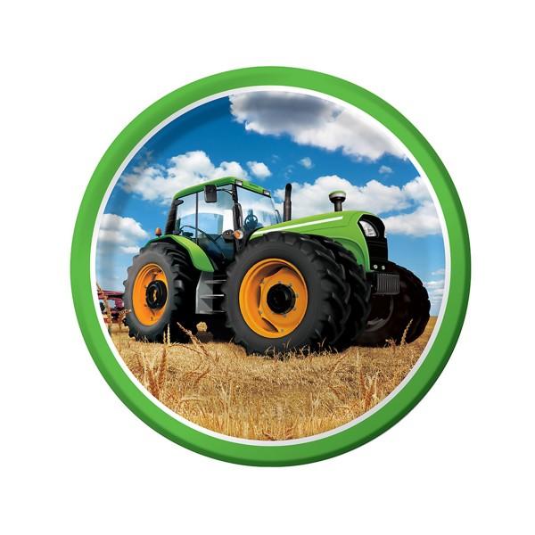 Pappteller-Traktor-23-cm-8-Stueck