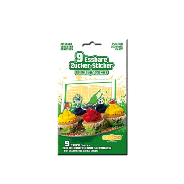 Essbare Zuckersticker Fu�ball, 9 St�ck