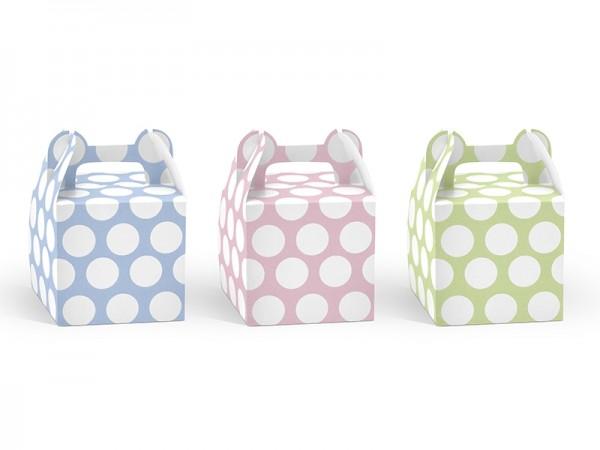 Geschenkboxen, grün, rosa und blau Pastell, 6 Stück