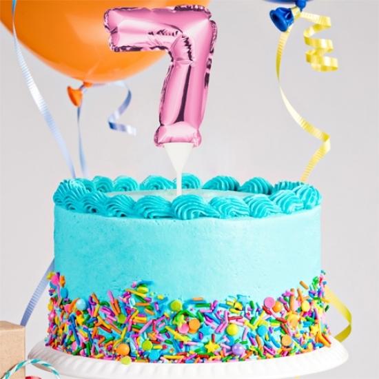 Kuchenpicker Folienballon Zahl 7 in Pink, 22 cm klein, selbstaufblasend, 1 Stück