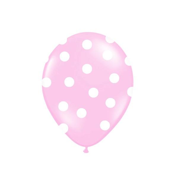Luftballons mit  Punkten rosa, 6 St