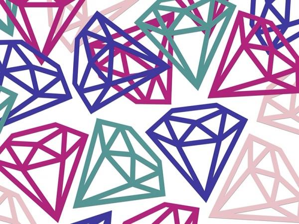 XXL Konfetti Diamanten, Mix, 12 Stück
