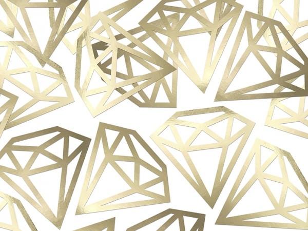 XXL Konfetti Diamanten, Gold, 12 Stück