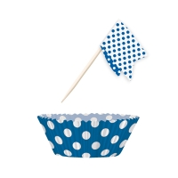 Muffin Kit Punkte, blau, 24 St