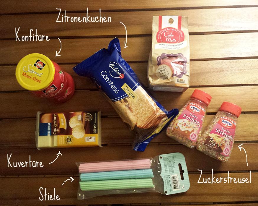 Auf einen Blick: Alle Zutaten für die Cake Pops.