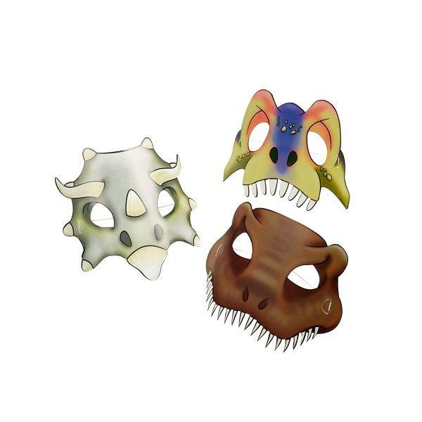T1142155-Pappmasken-Dinosaurier-4-Stueck