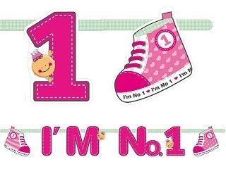 Banner 1. Geburtstag & Geburt, Pink