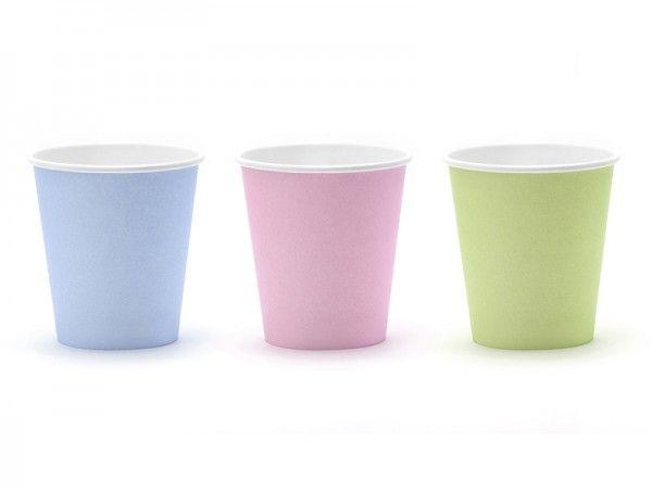 Pappbecher, 160 ml, Grün/Rosa/Blau Pastell, 6 Stück
