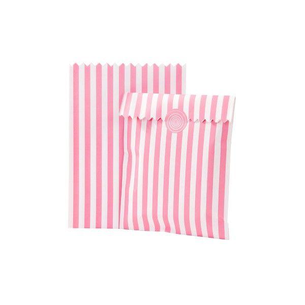 Partytüten aus Papier rosa/weiß gestreift, 8 Stück X