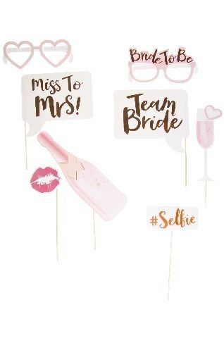 Photo Props Set Bride to be, rosa, 8-teilig
