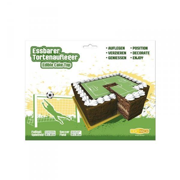 Zucker-Tortenaufleger Fussballfeld, 20x30cm