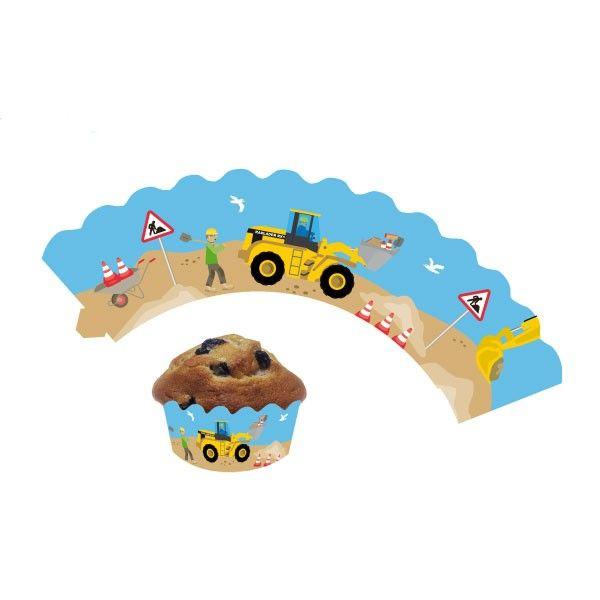 Deko-Banderolen für Muffins und Cupcakes Baustelle, 12 Stück