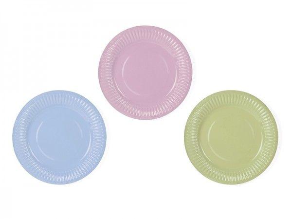 Pappteller, Ø 18 cm, Grün/Rosa/Blau Pastell, 6 Stück