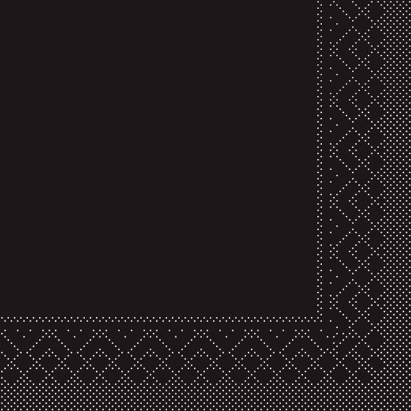 Servietten Schwarz, 33cm, 20 Stück