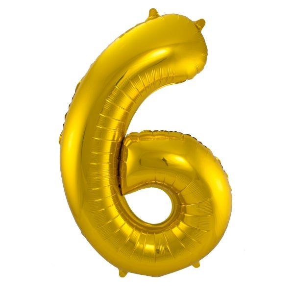 XL Folienballon Zahl 6 in Gold, 86 cm, 1 Stück, Helium Ballon (unbefüllt)