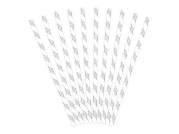 Strohhalme aus Papier, Silber-Weiß, 10 Stück