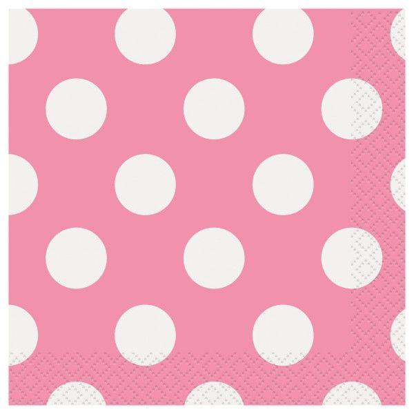Servietten Punkte, pink, 16 St