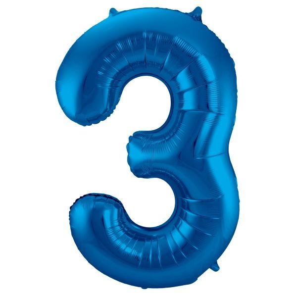 XL Folienballon Zahl 3 in Blau, 86 cm, 1 Stück, Helium Ballon (unbefüllt)