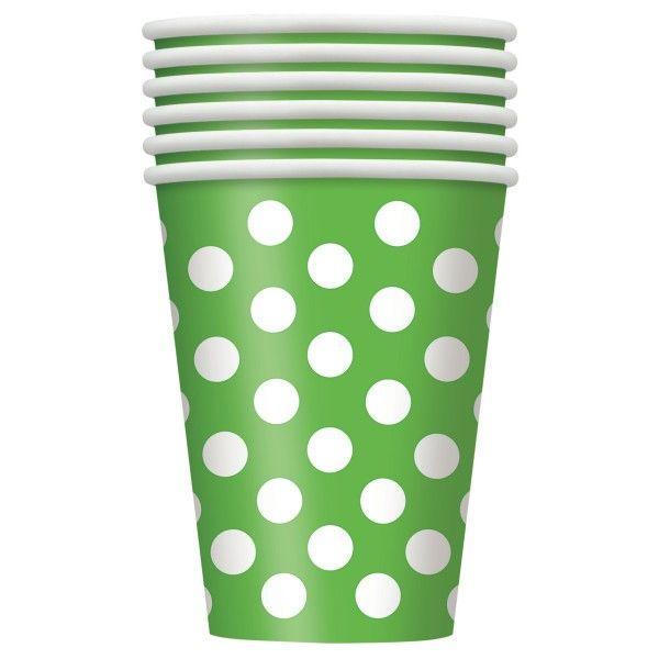 Pappbecher Punkte, grün, 6 Stück
