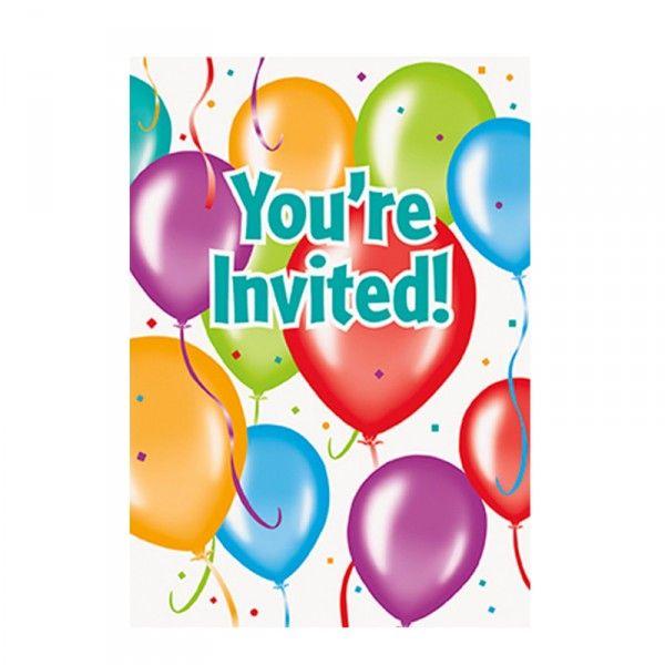 Einladungskarten Ballons, 8 Stück