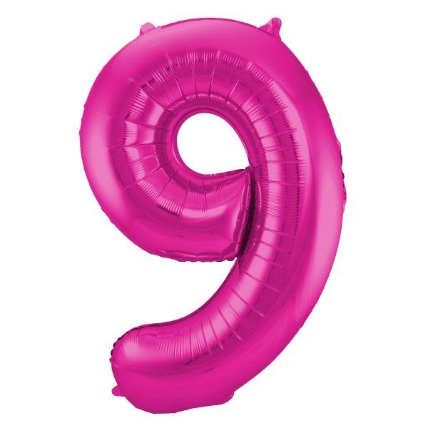 XL Folienballon Zahl 9 in Magenta, 86 cm, 1 Stück, Helium Ballon (unbefüllt)