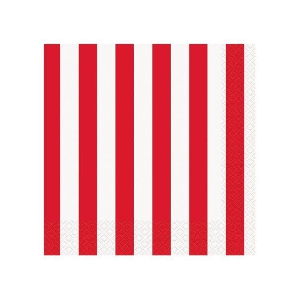 Servietten Streifen rot, 33cm, 16 St