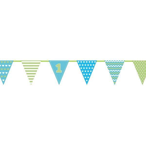 Wimpelkette 1. Geburtstag blau, 1,35m, 1 St
