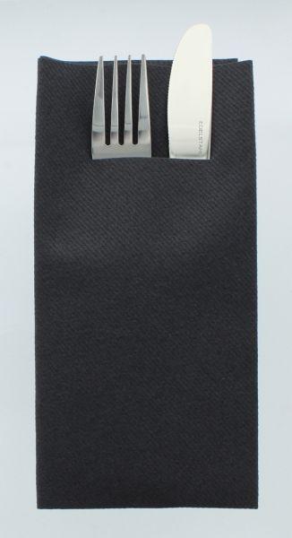 Besteckservietten Schwarz, 40cm, 12 Stück