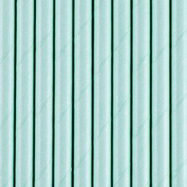 Strohhalme aus Papier, Pastell-Blau, 10 Stück