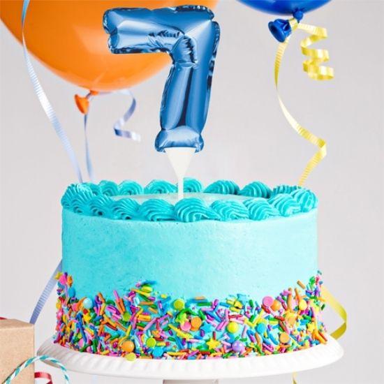 Kuchenpicker Folienballon Zahl 7 in Blau, 22 cm klein, selbstaufblasend, 1 Stück