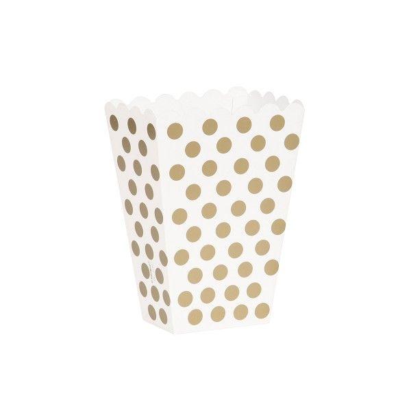 Popcorntüten Punkte, gold/weiß, 8 Stück