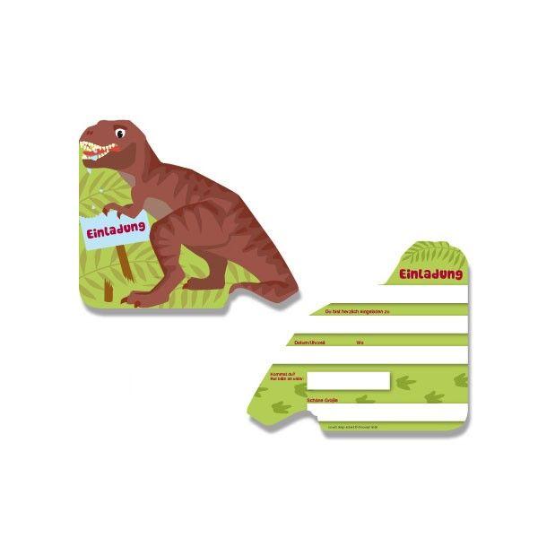 Einladungskarten Dinosaurier T-Rex, 6 Stück
