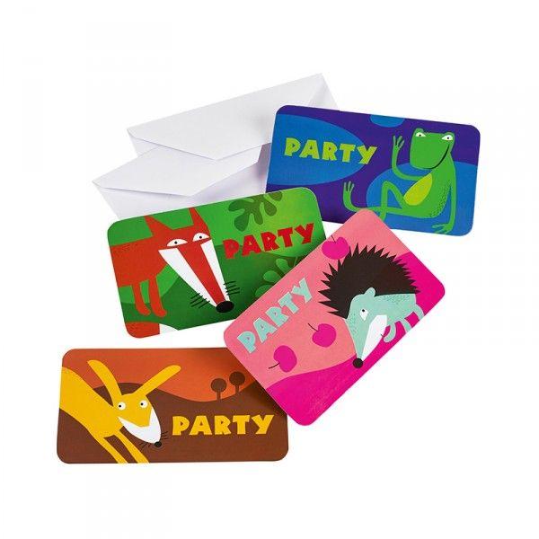 Einladungskarten Waldtiere, 8 Stück