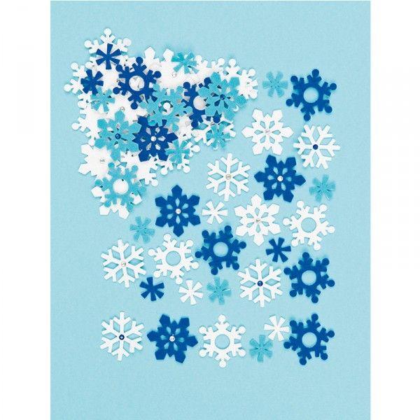 Filz-Sticker Schneeflocken, 78 Stück