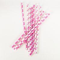 Strohhalme Punkte, pink, 10 Stück
