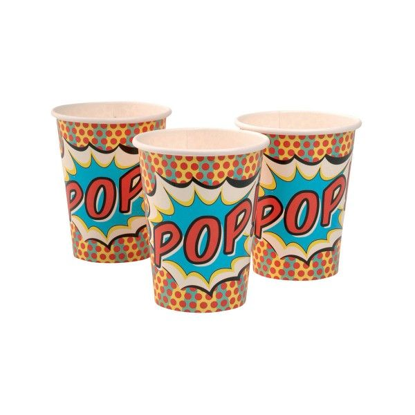 Pappbecher Pop Art Superhelden, 9,5cm, 8 St