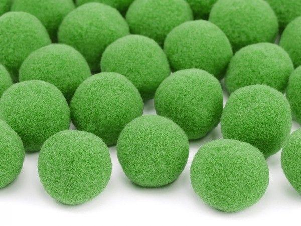 Deko-PomPoms aus Plüsch, hellgrün, 20 Stück