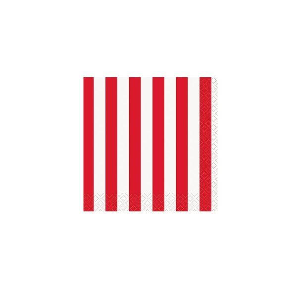 Servietten Streifen rot, 25cm, 16 St
