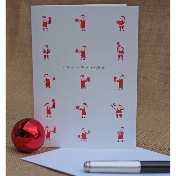 Klappkarte Weihnachtsmänner mit Umschlag