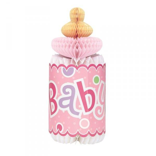 Tischdeko Babyshower Trinkflasche, Rosa